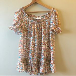 Zara basics floral ruffled semi sheer peasant top
